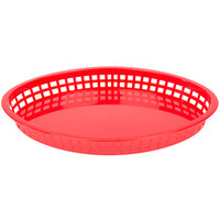 Tablecraft 1086R Texas Platter 12 3/4 inch x 9 1/2 inch x 1 1/2 inch Red Oval Polypropylene Basket - 12/Pack