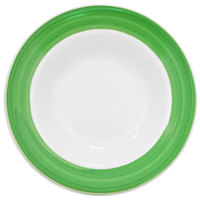 CAC R-120-G Rainbow 26 oz. Green Rolled Edge Pasta Bowl - 12/Case