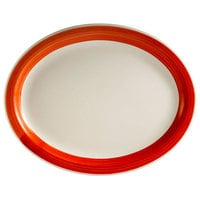 CAC R-14-R Rainbow 12 1/2 inch x 8 5/8 inch Red Rolled Edge Platter - 12/Case