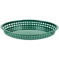 Tablecraft 1086FG Texas Platter 12 3/4 inch x 9 1/2 inch x 1 1/2 inch Forest Green Oval Polypropylene Basket   - 12/Pack