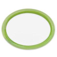 CAC R-14NR-G Rainbow 13 1/2 inch x 10 1/8 inch Green Narrow Rim Platter - 12/Case