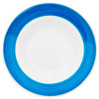 CAC R-120-BLU Rainbow 26 oz. Blue Rolled Edge Pasta Bowl - 12/Case