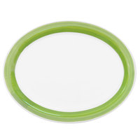 CAC R-14-G Rainbow 12 1/2 inch x 8 5/8 inch Green Rolled Edge Platter - 12/Case