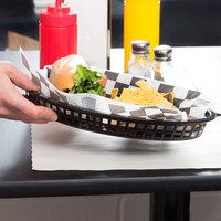 Tablecraft 1086BK Texas Platter 12 3/4 inch x 9 1/2 inch x 1 1/2 inch Black Oval Polypropylene Basket - 12/Pack