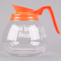 Grindmaster 98006 64 oz. Glass Coffee Decanter with Orange Decaf Handle   - 3/Case