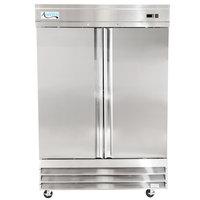 """Avantco CFD-2FF 54"""" Two Section Solid Door Reach in Freezer - 46.5 cu. ft."""