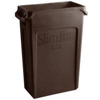 Rubbermaid 1956187 92 Qt. / 23 Gallon Slim Jim Brown Rectangular Trash Can