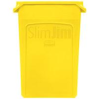 Rubbermaid 1956188 Slim Jim Wall Yellow Wall Hugger Trash Can - 23 Gallon