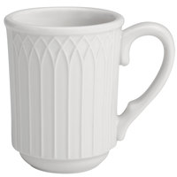 Homer Laughlin 10056900 Kensington 7 oz. Bright White Stackable China Mug - 36/Case