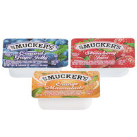 Smucker's Concord Grape Jelly, Strawberry Jam, & Orange Marmalade .5 oz. Portion Cups - 200/Case