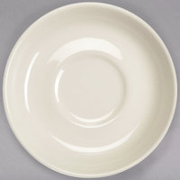 Homer Laughlin 28000 5 7/8 inch Ivory (American White) Rolled Edge Broadfoot China Saucer - 36/Case