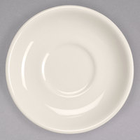 Homer Laughlin 28100 5 1/2 inch Ivory (American White) Narrow Rim China Ship Saucer - 36/Case
