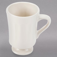 Homer Laughlin 13700 9.25 oz. Ivory (American White) China Panel Mug with Pedestal Base - 36/Case