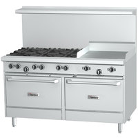 Garland G60-8G12SS Liquid Propane 8 Burner 60 inch Range with 12 inch Griddle and 2 Storage Bases - 282,000 BTU