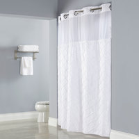 Hookless HBH12PTK01SL77 White Pintuck Shower Curtain with Chrome Raised Flex-On Rings, It's A Snap! Polyester Liner with Magnets, and Poly-Voile Translucent Window - 71 inch x 77 inch