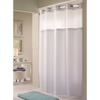Hookless White Double H Shower Curtain with Chrome Raised Flex-On Rings, It's A Snap! Polyester Liner with Magnets, and Poly-Voile Translucent Window - 71 inch x 77 inch