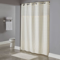 Hookless HBH65D205X Beige Shimmy Square Shower Curtain with Chrome Raised Flex-On Rings, It's A Snap! Polyester Liner with Magnets, and Poly-Voile Translucent Window - 71 inch x 77 inch