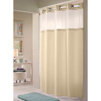 Hookless Beige Double H Shower Curtain with Chrome Raised Flex-On Rings, It's A Snap! Polyester Liner with Magnets, and Poly-Voile Translucent Window - 71 inch x 74 inch