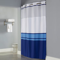 Hookless HBH49CBK01SL77 Blue Print Brooks Shower Curtain with Matching Flat Flex-On Rings, It's A Snap! Polyester Liner with Magnets, and Poly-Voile Translucent Window - 71 inch x 77 inch