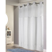 Hookless HBH40E257 White with White Stripe Escape Shower Curtain with Chrome Raised Flex-On Rings, It's A Snap! Polyester Liner with Magnets, and Poly-Voile Translucent Window - 71 inch x 74 inch