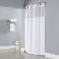 Hookless HBH26MYS01SL77 White Deliah Shower Curtain with Chrome Raised Flex-On Rings, It's A Snap! Polyester Liner with Magnets, and Poly-Voile Translucent Window - 71 inch x 77 inch