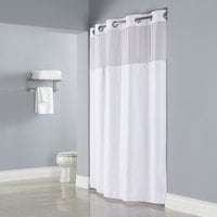 Hookless White Deliah Shower Curtain with Chrome Raised Flex-On Rings, It's A Snap! Polyester Liner with Magnets, and Poly-Voile Translucent Window - 71 inch x 77 inch