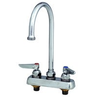 T&S B-1141-02A Deck Mount Workboard Faucet with 4 inch Centers, 10 5/16 inch Gooseneck, Escutcheon and Tailpieces