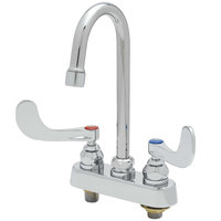 T&S B-1141-02A-WH4 Deck Mount Workboard Faucet with Wrist Action Handles, 4 inch Centers, 10 5/16 inch Gooseneck, Escutcheon and Tailpieces
