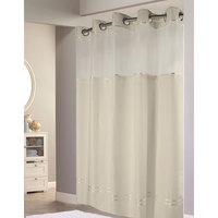 Hookless Beige with Beige Stripe Escape Shower Curtain with Chrome Raised Flex-On Rings, It's A Snap! Polyester Liner with Magnets, and Poly-Voile Translucent Window - 71 inch x 74 inch