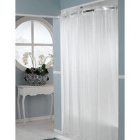 Hookless Frost 5-Gauge PEVA One PLANET Shower Curtain with Matching Flat Flex-On Rings and Weighted Corner Magnets - 71 inch x 74 inch