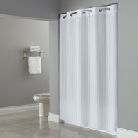 Hookless White Victorian Stripe Shower Curtain with Matching Flat Flex-On Rings and Weighted Corner Magnets - 71 inch x 77 inch