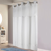 Hookless HBH40MYS0101SL77 White with White Stripe Escape Shower Curtain with Chrome Raised Flex-On Rings, It's A Snap! Polyester Liner with Magnets, and Poly-Voile Translucent Window - 71 inch x 77 inch