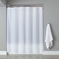 Hooked White Basic Polyester Shower Curtain with Buttonhole Header - 72 inch x 72 inch