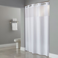 Hookless HBH72PTM0177 White RePET One PLANET Daytona Shower Curtain with Matching Flat Flex-On Rings, Weighted Corner Magnets, and Poly-Voile Translucent Window - 71 inch x 77 inch