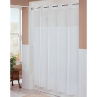 Hookless HBH49MYS01SL77 White Illusion Shower Curtain with Chrome Raised Flex-On Rings, It's A Snap! Polyester Liner with Magnets, and Poly-Voile Translucent Window - 71 inch x 77 inch