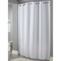 Hookless White Litchfield Shower Curtain with Matching Flat Flex-On Rings and Weighted Corner Magnets - 71 inch x 74 inch