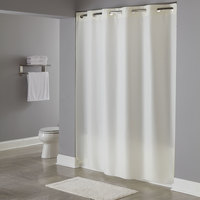 Hookless HBH40PLW05 Beige Plainweave Shower Curtain with Matching Flat Flex-On Rings and Weighted Corner Magnets - 71 inch x 74 inch
