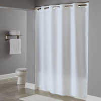 Hookless HBH40PLW01 White Plainweave Shower Curtain with Matching Flat Flex-On Rings and Weighted Corner Magnets - 71 inch x 74 inch