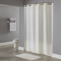 Hookless HBH40PLW05X Beige Plainweave Shower Curtain with Matching Flat Flex-On Rings and Weighted Corner Magnets - 71 inch x 77 inch