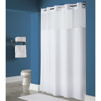 Hookless HBH40MYS0174 White Mystery Shower Curtain with Matching Flat Flex-On Rings, Weighted Corner Magnets, and Poly-Voile Translucent Window - 71 inch x 74 inch