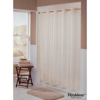 Hookless Beige Litchfield Shower Curtain with Matching Flat Flex-On Rings and Weighted Corner Magnets - 71 inch x 77 inch