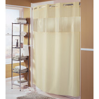 Hookless HBH41BUB05WS Beige The Major Shower Curtain with Matching Flat Flex-On Rings, Weighted Corner Magnets, and Bubble-Textured Window - 71 inch x 74 inch