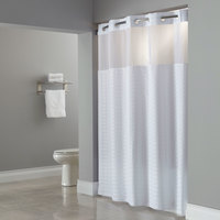 Hookless HBH43MYS01 White Madison Shower Curtain with Matching Flat Flex-On Rings, Weighted Corner Magnets, and Poly-Voile Translucent Window - 71 inch x 74 inch