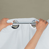 ... Hookless HBH40PLW01X White Plainweave Shower Curtain With Matching Flat  Flex On Rings And Weighted Corner