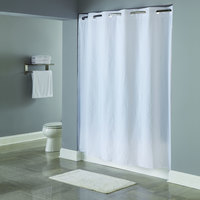 Hookless HBH10SND0174 White 10-Gauge PEVA One PLANET Shower Curtain with Matching Flat Flex-On Rings and Weighted Corner Magnets - 71 inch x 74 inch