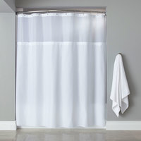 Hooked HBG40MYS01SL White Polyester Premium Shower Curtain with Buttonhole Header, It's A Snap! Polyester Liner with Magnets, and Sheer Voile Window - 71 inch x 72 inch