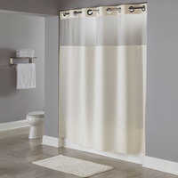 Hookless Beige Illusion Shower Curtain with Chrome Raised Flex-On Rings, It's A Snap! Polyester Liner with Magnets, and Poly-Voile Translucent Window - 71 inch x 77 inch