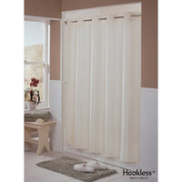 Hookless Beige Englewood Shower Curtain with Matching Flat Flex-On Rings and Weighted Corner Magnets - 71 inch x 74 inch
