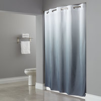 Hookless HBH40GRD0177 White/Gray The Graduate Shower Curtain with Matching Flat Flex-On Rings and Weighted Corner Magnets - 71 inch x 77 inch