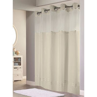 Hookless Beige with Beige Stripe Escape Shower Curtain with Chrome Raised Flex-On Rings, It's A Snap! Polyester Liner with Magnets, and Poly-Voile Translucent Window - 71 inch x 77 inch